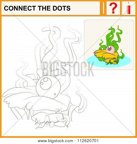Connect the dots preschool exercise task for kids luxury pink pearl in the oyster. Vector isolated.