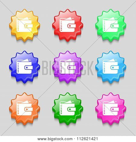 Purse  Icon Sign. Symbol On Nine Wavy Colourful Buttons.