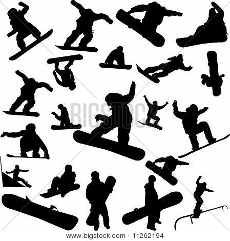 snowboard collection - vector