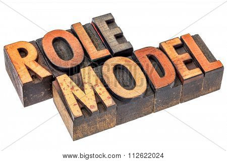 role model -  leadership concept - isolated word abstract in letterpress  wood type stained by color inks