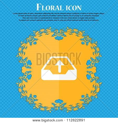 Backup Icon. Floral Flat Design On A Blue Abstract Background With Place For Your Text.