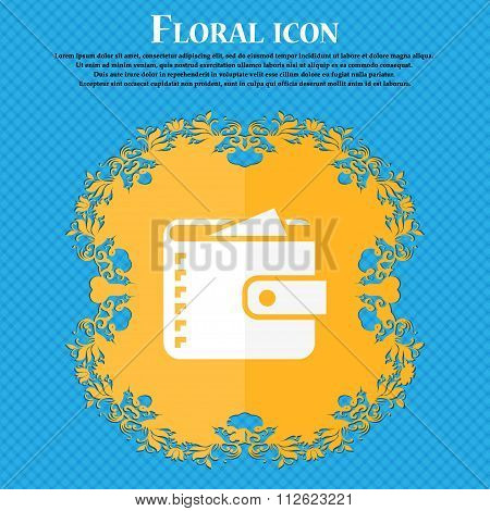 Purse  Icon. Floral Flat Design On A Blue Abstract Background With Place For Your Text.