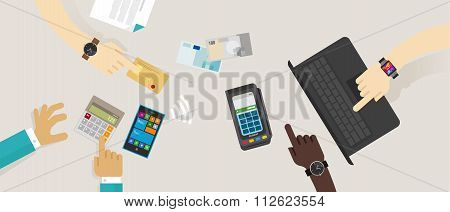 payment option top desk mobile NFC rfid credit card edc online buy transaction vector illustration c