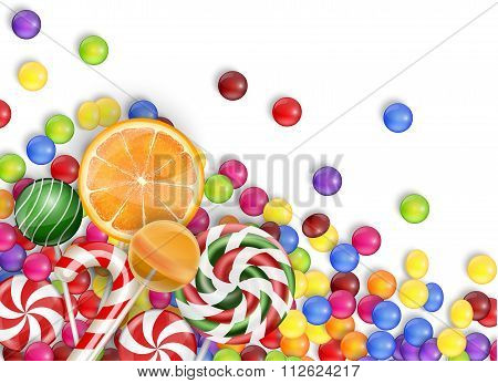 Sweets of candies with lollipop, orange juice, bubblegum on a white background