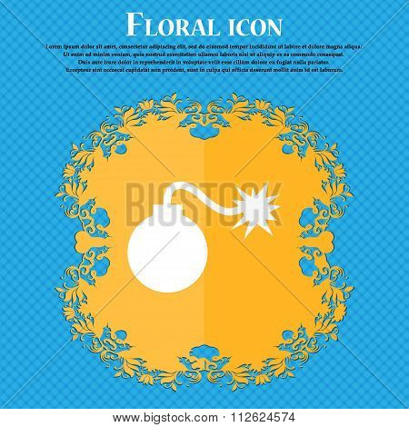 Bomb Icon. Floral Flat Design On A Blue Abstract Background With Place For Your Text.
