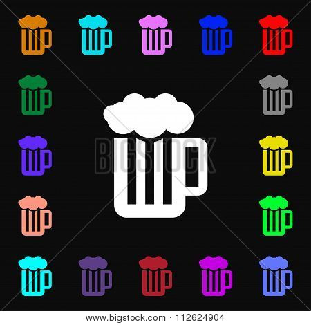 Glass Of Beer With Foam Icon Sign. Lots Of Colorful Symbols For Your Design.