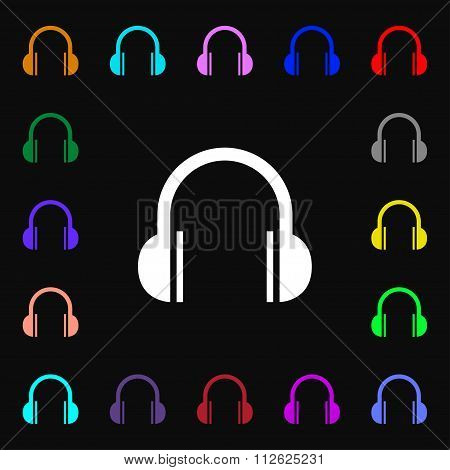 Headphones Icon Sign. Lots Of Colorful Symbols For Your Design.