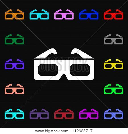3D Glasses Icon Sign. Lots Of Colorful Symbols For Your Design.