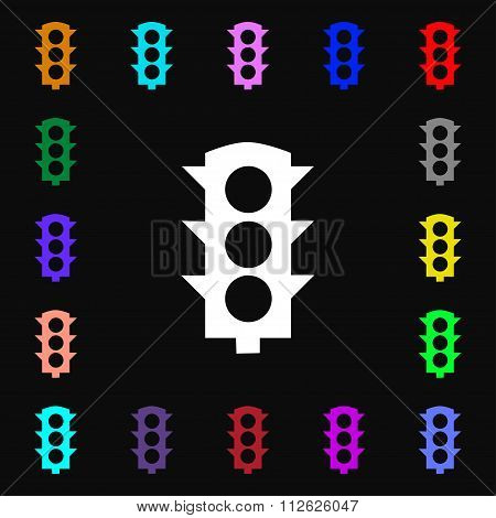 Traffic Light Signal Icon Sign. Lots Of Colorful Symbols For Your Design.