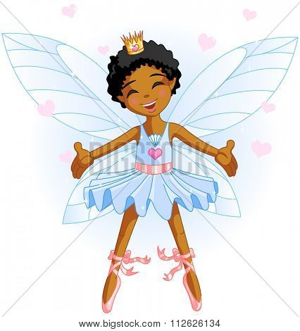 Cute blue fairy ballerina flying