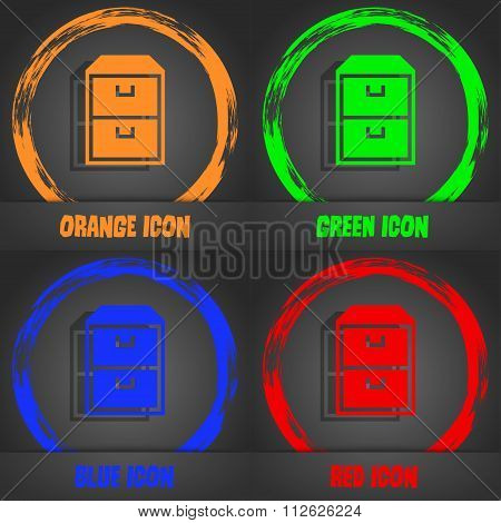 Nightstand Icon. Fashionable Modern Style. In The Orange, Green, Blue, Red Design.