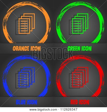 Copy File, Duplicate Document Icon. Fashionable Modern Style. In The Orange, Green, Blue, Red