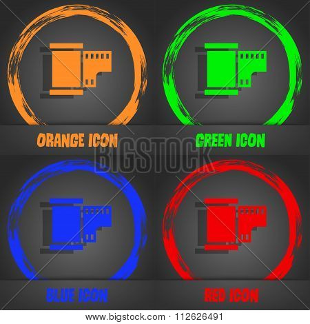 35 Mm Negative Films Icon. Fashionable Modern Style. In The Orange, Green, Blue, Red Design.