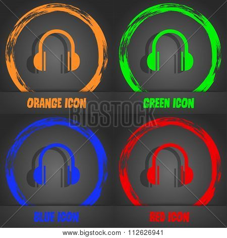 Headphones Icon. Fashionable Modern Style. In The Orange, Green, Blue, Red Design.