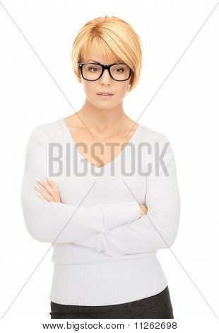 Pensive Businesswoman Over White