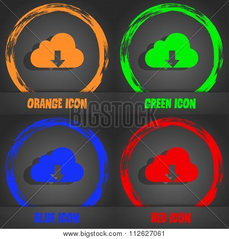 Backup Icon. Fashionable Modern Style. In The Orange, Green, Blue, Red Design.