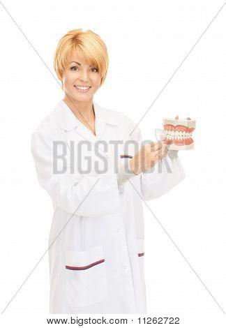 Médico com escova de dentes e maxilares