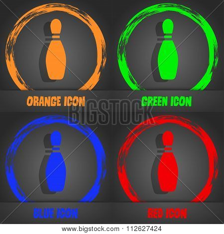 Pin Bowling Icon. Fashionable Modern Style. In The Orange, Green, Blue, Red Design.