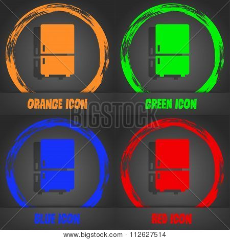 Refrigerator Icon. Fashionable Modern Style. In The Orange, Green, Blue, Red Design.