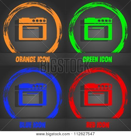 Kitchen Stove Icon. Fashionable Modern Style. In The Orange, Green, Blue, Red
