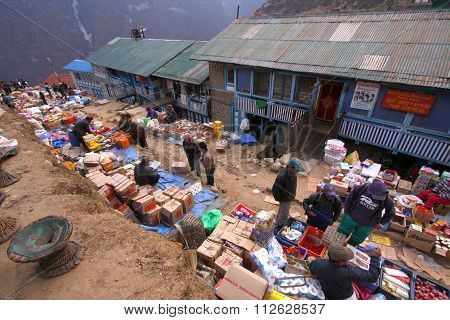 Weekly market, Namche Bazaar Nepal