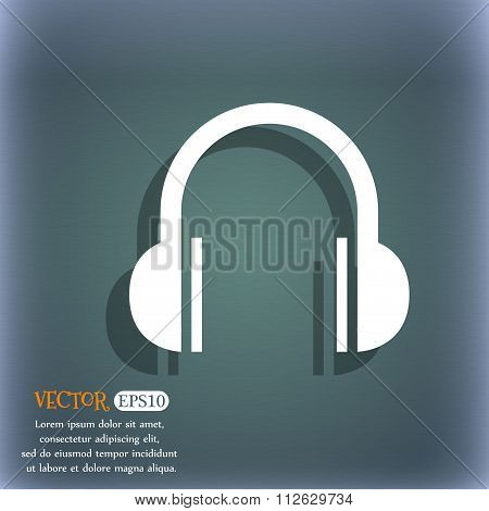 Headphones Icon. On The Blue-green Abstract Background With Shadow And Space For Your Text.