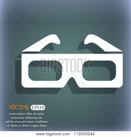 3D Glasses Icon. On The Blue-green Abstract Background With Shadow And Space For Your Text.