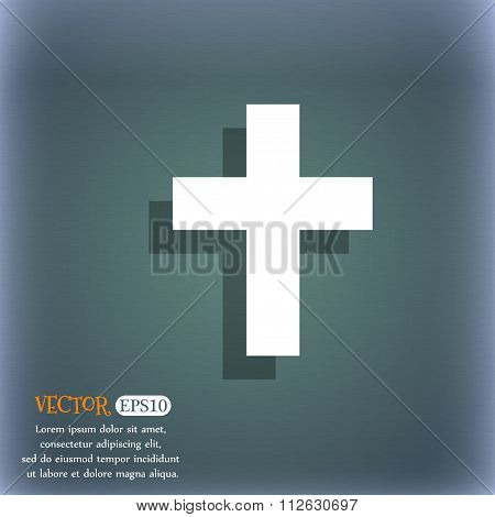 Religious Cross, Christian Icon. On The Blue-green Abstract Background With Shadow And Space For