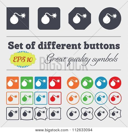 Bomb Icon Sign. Big Set Of Colorful, Diverse, High-quality Buttons.