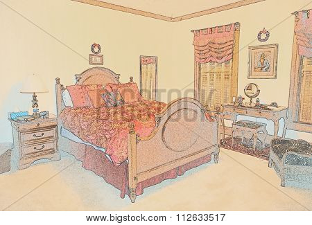 Victorian Bedroom Pastel Sketch