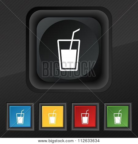 Soft Drink  Icon Symbol. Set Of Five Colorful, Stylish Buttons On Black Texture For Your Design.