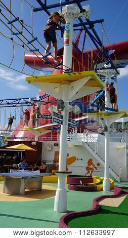 Ropes Course on the Carnival Breeze