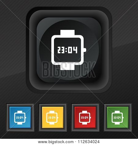 Wristwatch Icon Symbol. Set Of Five Colorful, Stylish Buttons On Black Texture For Your Design.