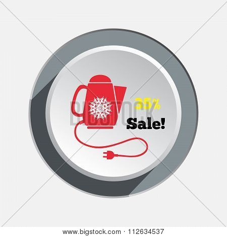 Home electric kettle. Christmas sale icon. Snowflake on teapot. Kitchen equipment and two-pin plug.