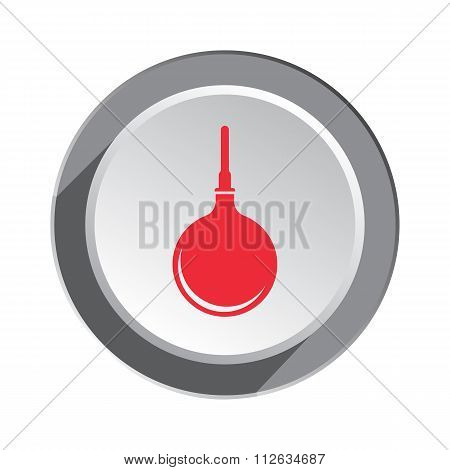 Clyster tool icon. Enema symbol. Round button with shadow. Vector