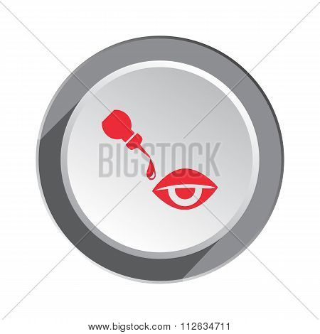 Medical icon. Optical vision symbol of health and medicine. Round button with shadow. Vector