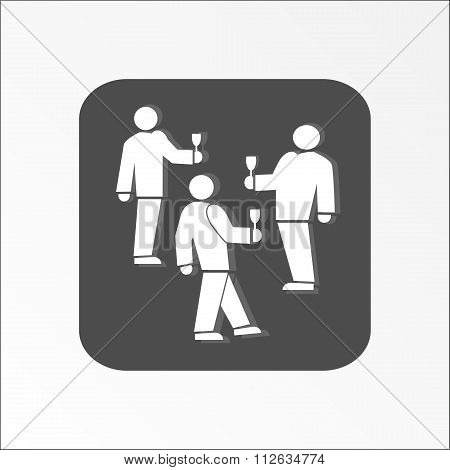 Office web icon. Succes deal symbol. White tree people silhouette on dark gray background with shado