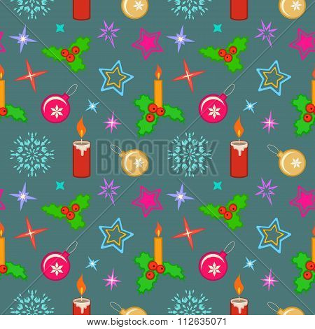 Seamless christmas pattern. Winter theme texture with colored holly berry, candles, balls, stars, sn