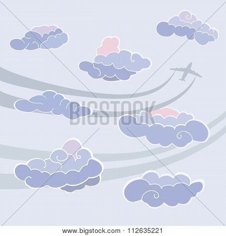 Clouds icon set. Sky pattern. Templete with clouds and plane signs. Colored icons on grey background