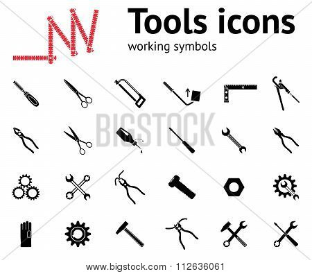 Tools icons set. Glue, pliers, tongs, wrench key, cogwheel, hammer, rubber gloves, screw bolt, nut,