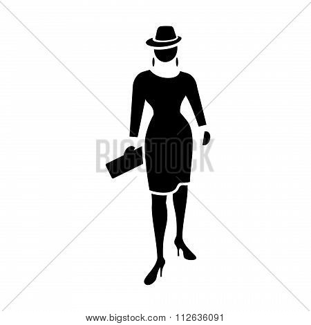 Busines woman icon. Fashion lady with small bag and hat. Social, people, female symbol. Black silhou