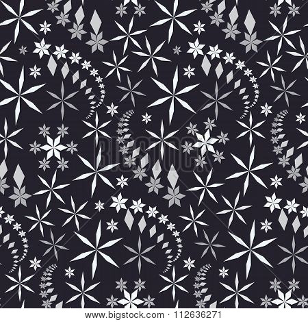 Seamless christmas pattern. Crystal white and gray snowflake stars, whirled silhouettes on black bac