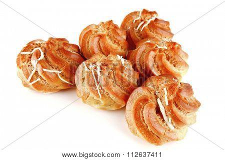 fresh creamy eclair cakes served on white
