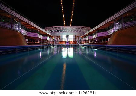 Overview of swimming pool in the deck of Costa Deliziosa