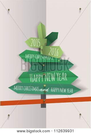 Christmas tree fold paper stylisation  Vector illustration.