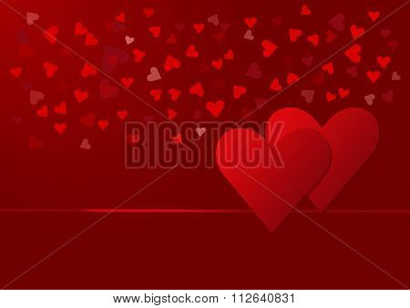 Two red hearts with red small hearts