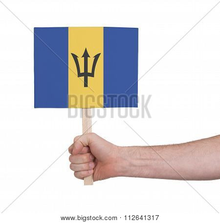 Hand Holding Small Card - Flag Of Barbados