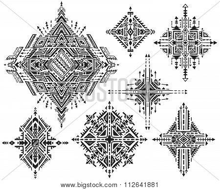 Set Of Seven Tribal Art Boho Hand Drawn Geometric Patterns.