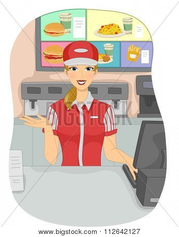 Illustration of a Girl Working as a Cashier in a Fast Food Chain