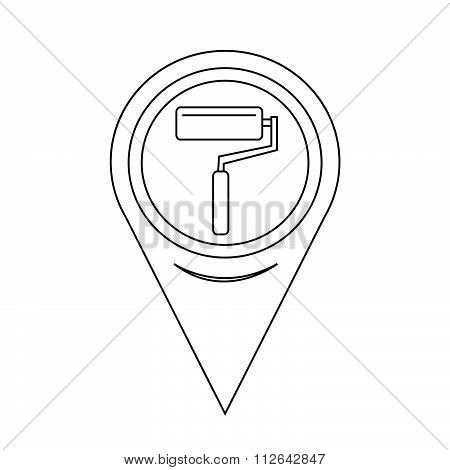 Map Pointer Paint Roller Icon